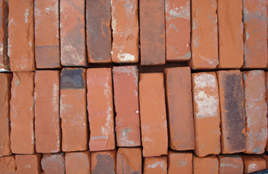 reclaimed red rubber bricks